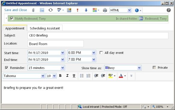 Granting write permission for calendar sharing with OWA 2010