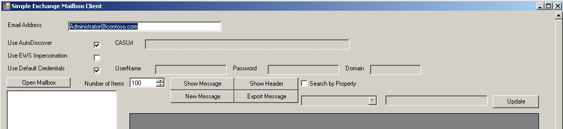 The simple EWS Exchange Email Client