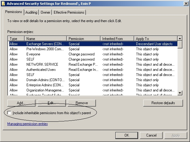 Exchange 2010 problems due to insufficient access to Active