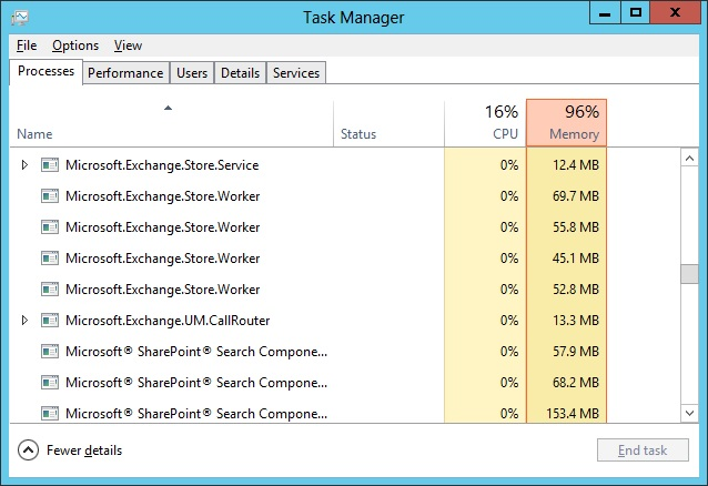 Store processes running on an Exchange 2013 multi-role server