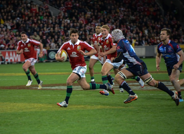 Ben Youngs sprints away to score the last try for the Lions