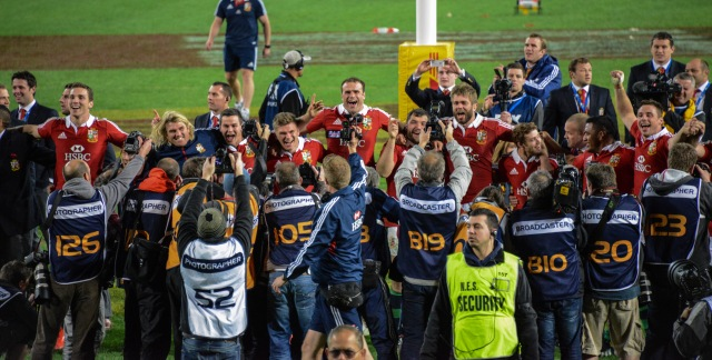 The Lions celebrate in front of their fans at the end of the game