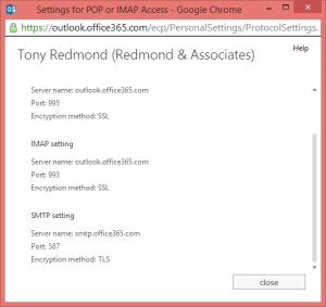 Outlook Web App reveals Office 365 SMTP settings