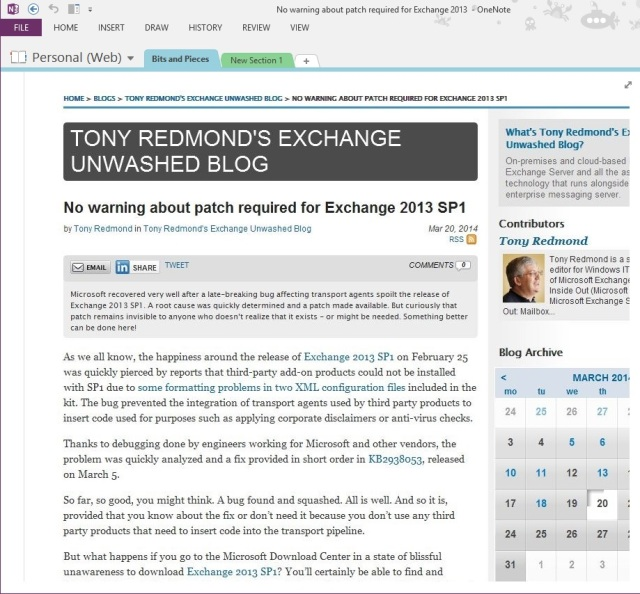 WindowsITPro.com article captured in OneNote via an IFTTT recipe