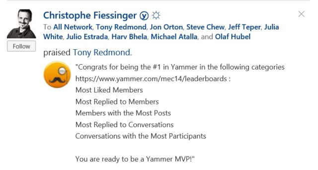 Yammer stats from MEC