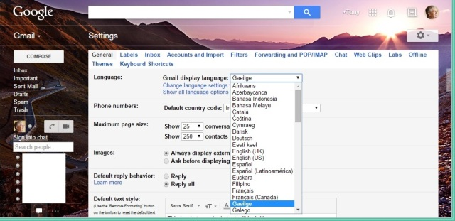 Selecting Irish as the preferred language for Gmail