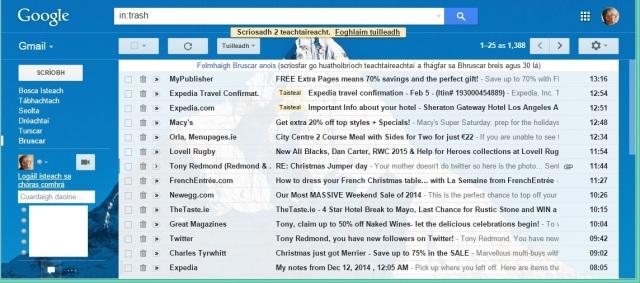 Gmail as Gaeilge