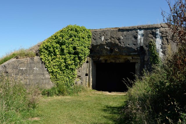 Front of lower casemate at WN62 showing evidence of shell damage