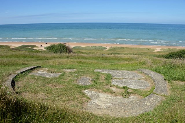 Remains of a WN62 concrete gun platform. Note the magnificent view over the landing beach at Omaha
