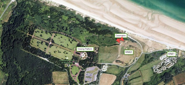 Google Maps overview of WN62 position on Omaha Beach
