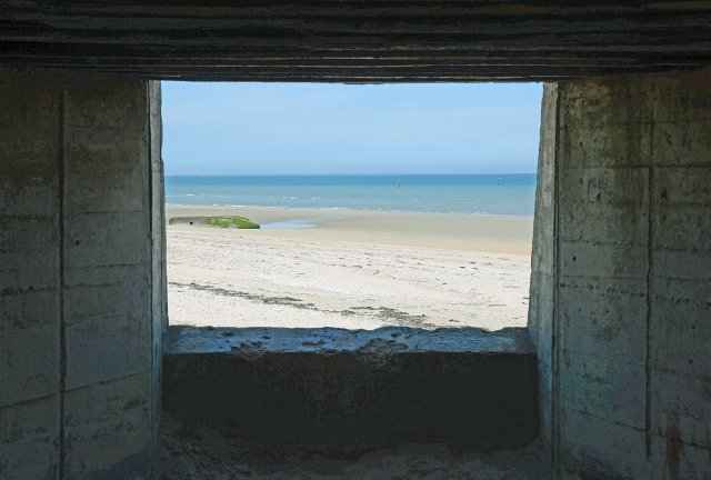 Gun port of beach position overlooking original landing zone for the 4th Infantry