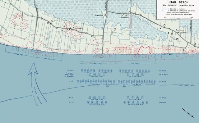 Planned and actual landings at Utah Beach (U.S. Army)