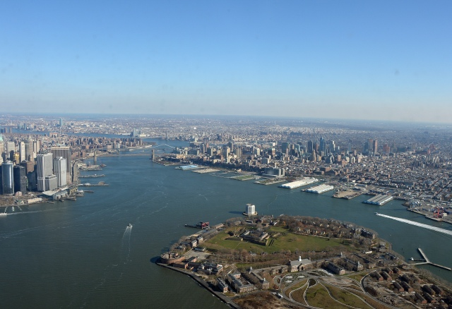Flying over Governor's Island