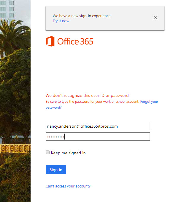 Office 365 New Sign-in Experience