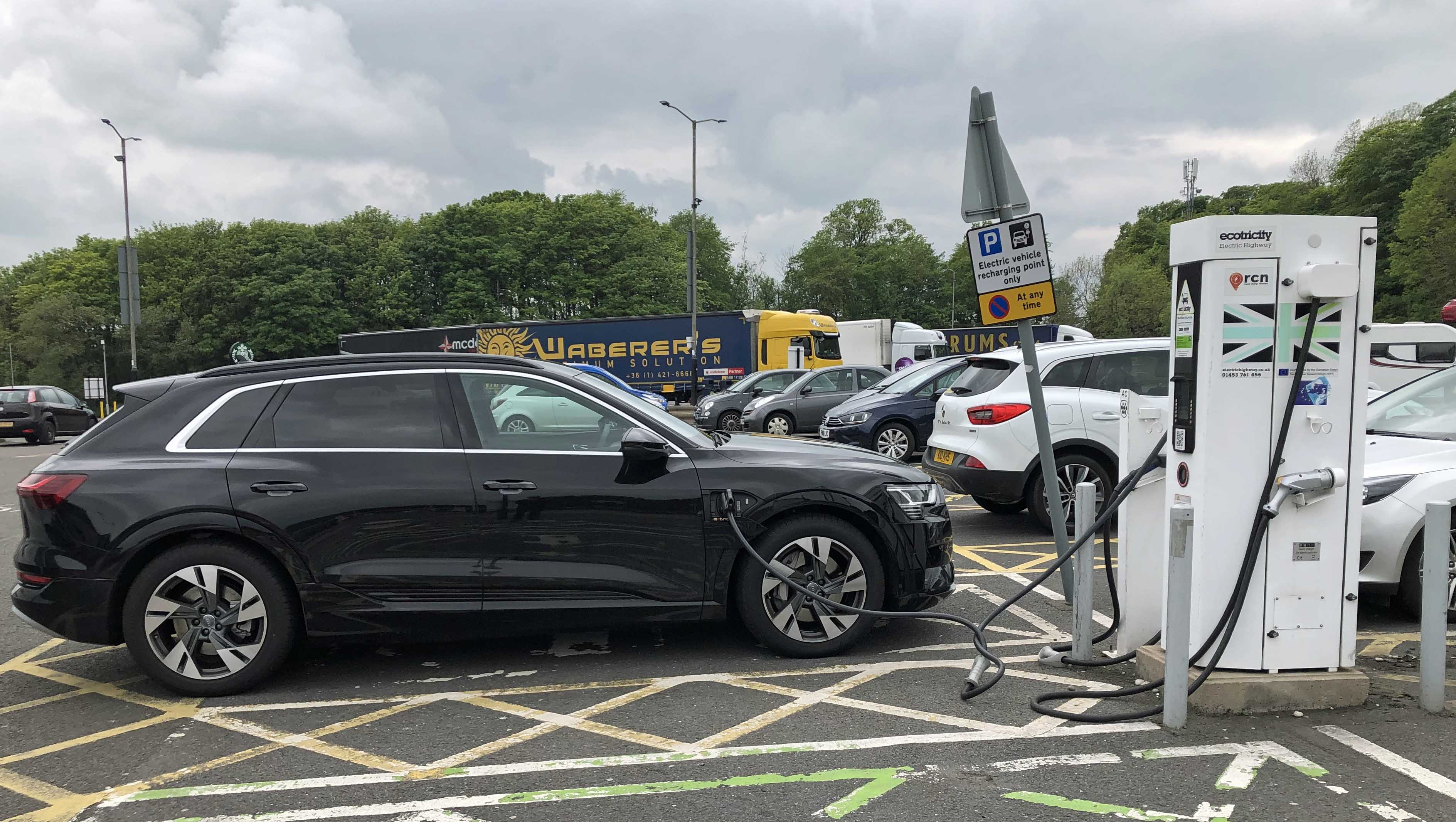 Charging at an Ecotricity pump in Keele, England